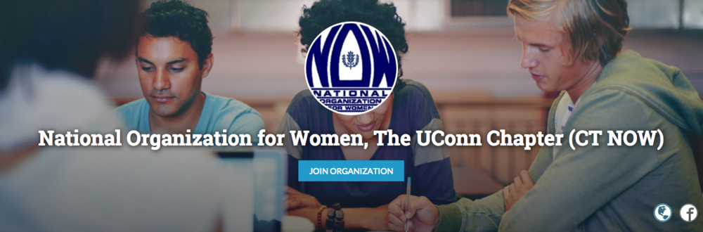 A screenshot from the UConn National Organization for Women (NOW) page on UConntact.