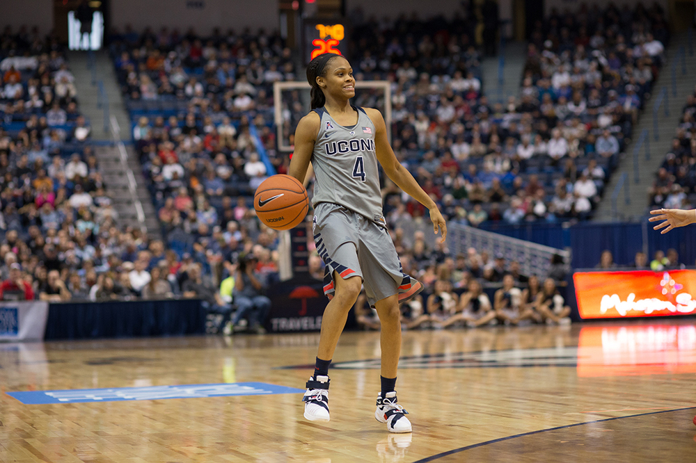 Senior guard Moriah Jefferson sizes up the defense during UConn's 88-46 victory over Nebraska. Jefferson is averaging 13.2 points per game. (Jackson Haigis/The Daily Campus)