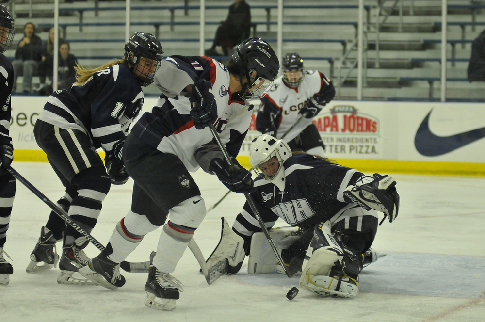 Senior forward Brittany Berisoff (#11) has a shot saved during UConn's 2-1 loss against New Hampshire on November 11, 2015. Berisoff has five goals this season. (Jason Jiang/The Daily Campus)