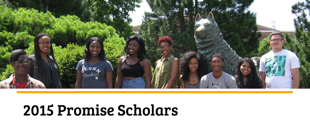 The 2015 New Haven Promise program scholars stand before the statue of Jonathan the husky on UConn's campus. (Screenshot/ NewHavenPromise.org )