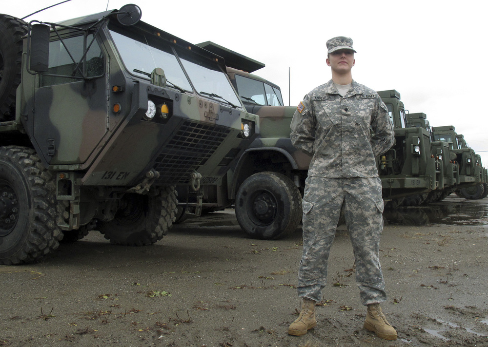 In this Dec. 3, 2015, photo, Vermont National Guard Spc. Skylar Anderson, the first female in the Army to qualify as a combat engineer, poses at Camp Johnson in Colchester, Vt. Anderson said she didn't know when she started the training course to become a combat engineer that she would be the first female to graduate. The military has opened up a number of combat jobs to women that were once reserved for men only. (Wilson Ring/AP)