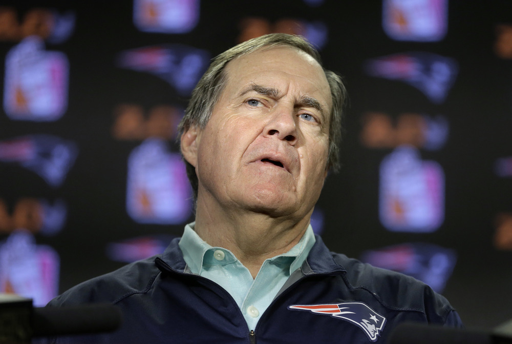New England Patriots head coach Bill Belichick faces reporters during a news conference before a scheduled NFL football practice, Wednesday, Dec. 2, 2015, in Foxborough, Mass. The Patriots are to play the Philadelphia Eagles Sunday, Dec. 6, in Foxborough. (Steven Senne/AP)
