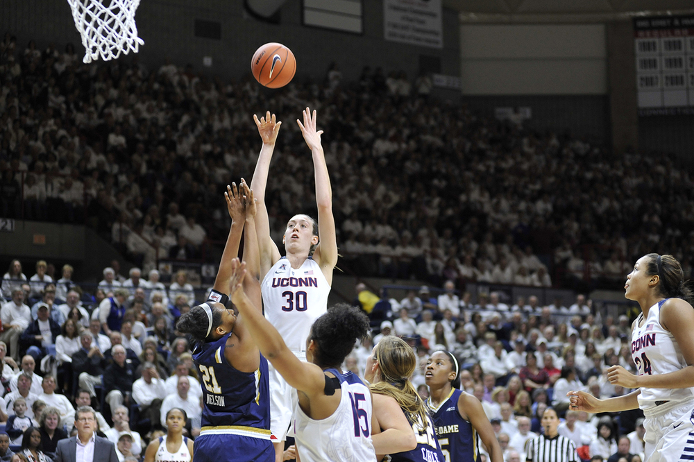 UConn women's basketball forward Breanna Stewart takes a shot during the Huskies' game against Notre Dame at Gampel Pavilion in Storrs, Connecticut on Saturday, Dec. 5, 2015. (Jason Jiang/The Daily Campus)