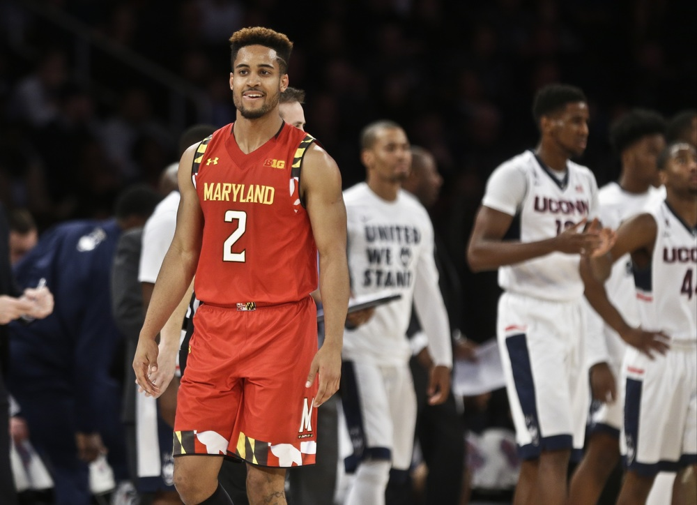 Maryland's Melo Trimble (2) reacts after a play during the second half of an NCAA college basketball game against Connecticut Tuesday, Dec. 8, 2015, in New York. Maryland won 76-66. (Frank Franklin II/AP)