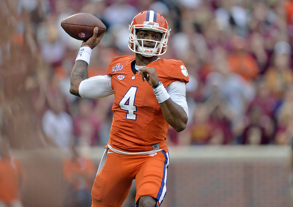 In this Nov. 7, 2015, file photo, Clemson quarterback Deshaun Watson throws a pass during the first half of an NCAA college football game against Florida State in Clemson, S.C. Calm and confident without being flashy, Watson's style led the Tigers to their first 12-0 season since 1981 _ and a chance to accomplish much more. (Richard Shiro, File/AP)