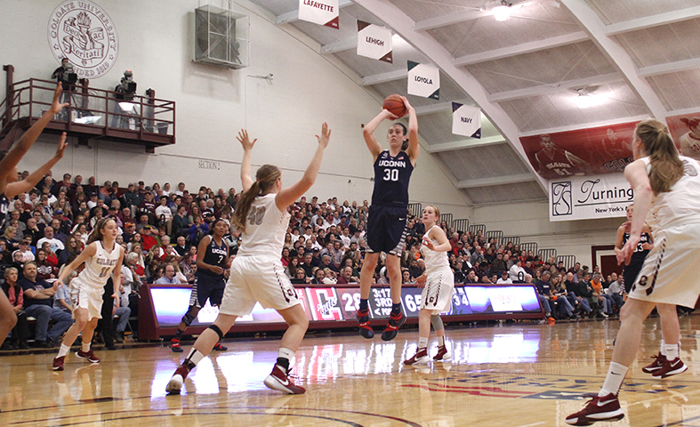 Connecticut's Breanna Stewart shoots in the third quarter of an NCAA college basketball game against Colgate in Hamilton, N.Y., Wednesday, Dec. 9, 2015. (AP Photo/Nick Lisi)
