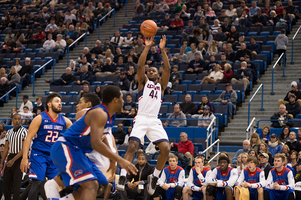 Junior guard Rodney Purvis rises for a jumper during UConn's 88-79 win over UMass-Lowell. Purvis finished with 28 points, one shy of his career high. (Jackson Haigis/The Daily Campus).