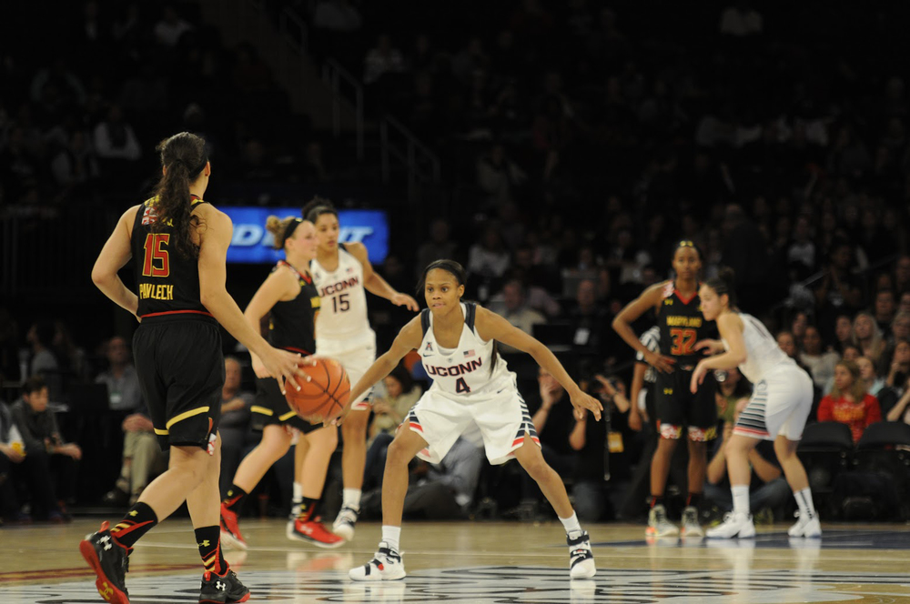 Moriah Jefferson (#4) gets into a defensive stance during UConn's 83-73 victory over No. 6 Maryland. UConn has won 47 games in a row. (Bailey Wright/The Daily Campus).