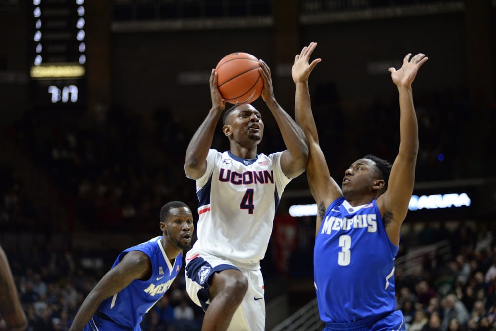 Graduate transfer Sterling Gibbs goes up for a layup during UConn's 81-78 victory over Memphis. Gibbs finished with a season high 26 points, including the go-ahead free throws with 43 seconds left to give the Huskies the win. (Ashley Maher/The Daily Campus).