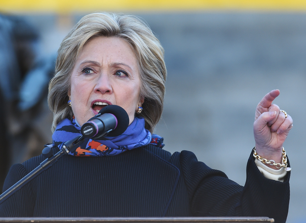 Democratic presidential candidate Hillary Clinton speaks during the King Day at the Dome event celebrating the life of Martin Luther King Jr., Monday, Jan. 18, 2016, in Columbia, S.C. (Rainier Ehrhardt/AP)