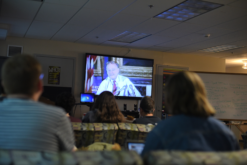 "Students look on during a showing of ""How to Survive a Plague"" at UConn's Rainbow Center in the Student Union on Monday, Jan. 18, 2016. (Allen Lang/The Daily Campus)"