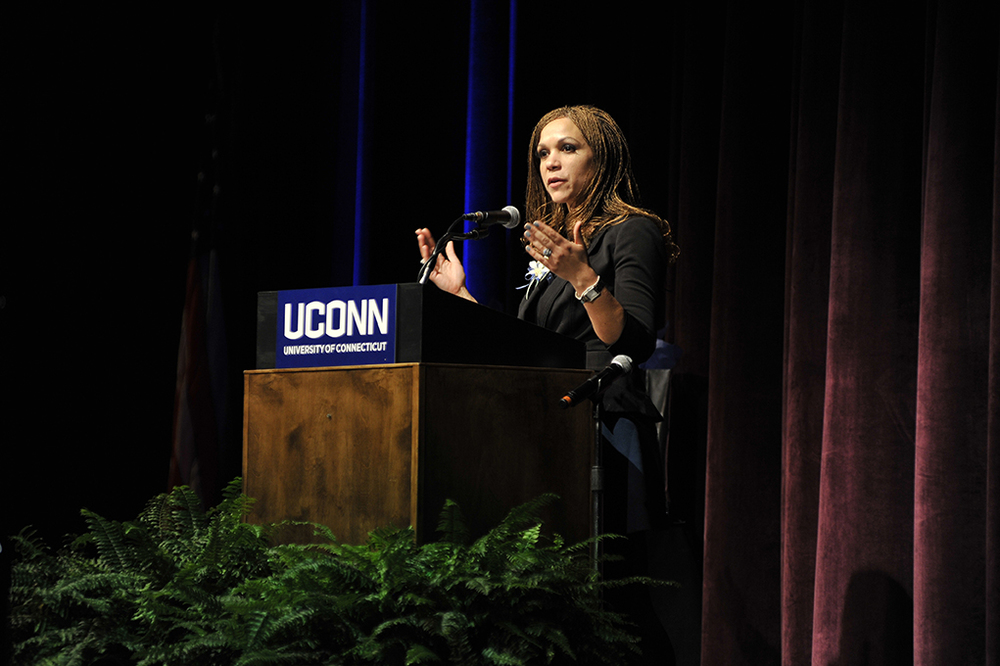 "Melissa Harris-Perry, host of MSNBC's ""Melissa Harris-Perry,"" delivers her speech titled ""Challenges Facing Underrepresented Communities in America: Issues of Equity, Justice, Civility or Respect"" on Dr. Martin Luther King, Jr. Day at the Jorgensen Center for the Performing Arts on Monday, Jan. 18, 2016. (Jason Jiang/The Daily Campus)"