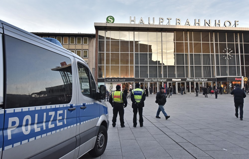 Police patrol in front of the main train station in Cologne, Germany, Monday, Jan. 18, 2016. A first suspect of the New Year's Eve sexual assaults and robberies in Cologne was arrested over the weekend. Authorities in Germany have arrested a 26-year-old Algerian man on suspicion of committing a sexual assault in Cologne during New Year's celebrations. (Martin Meissner/AP)