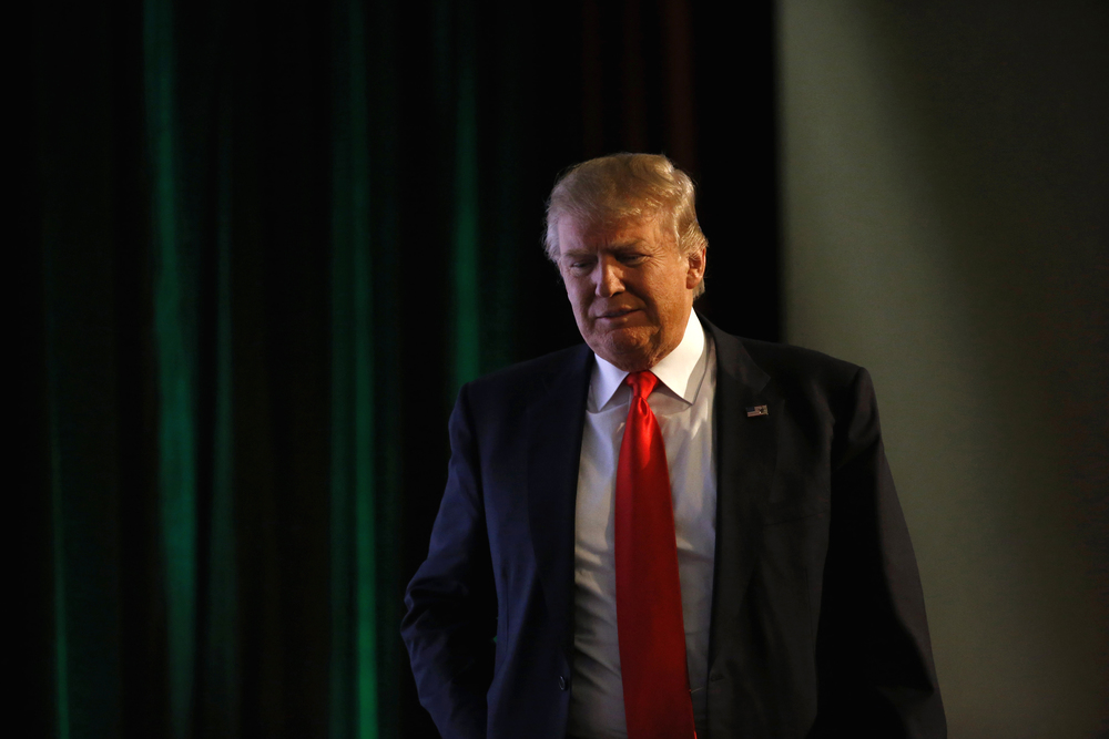 Republican presidential candidate Donald Trump walks onstage before speaking at the Iowa Renewable Fuels Summit in Altoona, Iowa, Tuesday, Jan. 19, 2016. (Patrick Semansky/AP)