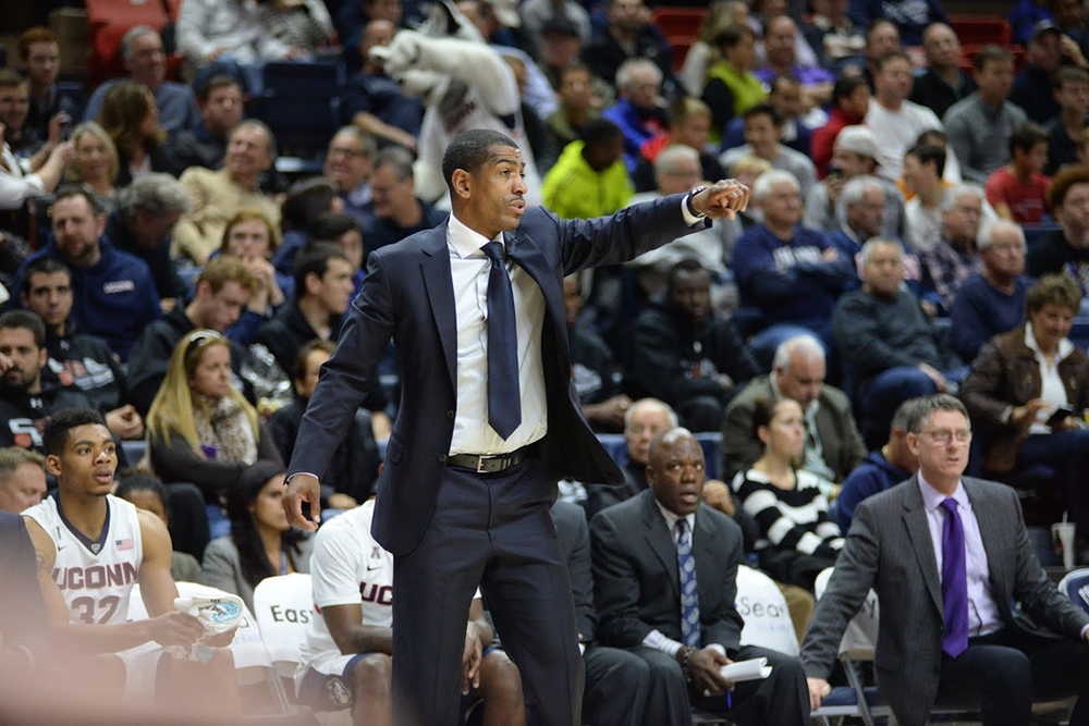 UConn head coach Kevin Ollie shouts instructions during a victory over Furman at Gampel Pavilion. Ollie has landed a top 10 recruiting class in 2017, bolstered by the signing of 5 star center Zach Brown. (Ashley Maher/The Daily Campus)