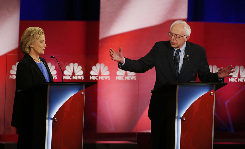 Democratic presidential candidate Sen. Bernie Sanders and presidential candidate Hillary Clinton debated different approaches to gun safety legislation at the NBC, YouTube Democratic presidential debate at the Gaillard Center, Sunday, Jan. 17, 2016, in Charleston, S.C. (AP)