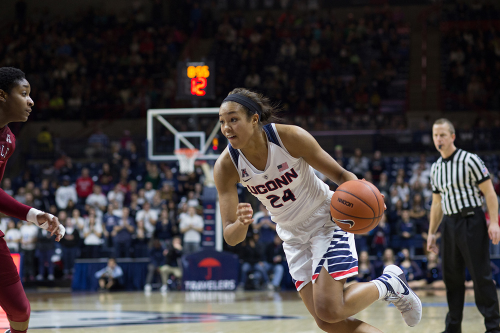 Napheesa Collier attacks the basket during UConn's victory against Temple. Collier loves Beyonce, Instagram, and Kevin Durant. (Jackson Haigis/The Daily Campus)