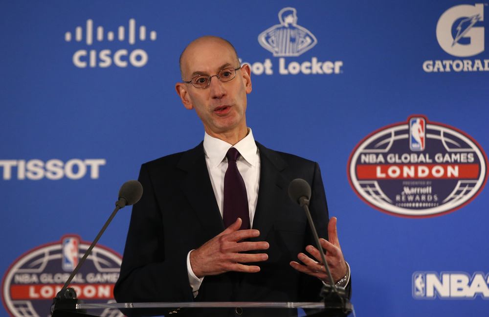 Commissioner of the NBA Adam Silver speaks to the media ahead of a regular season basketball game between Orlando Magic and Toronto Raptors at the O2 arena in London, Thursday, Jan. 14, 2016. (Alastair Grant/AP)