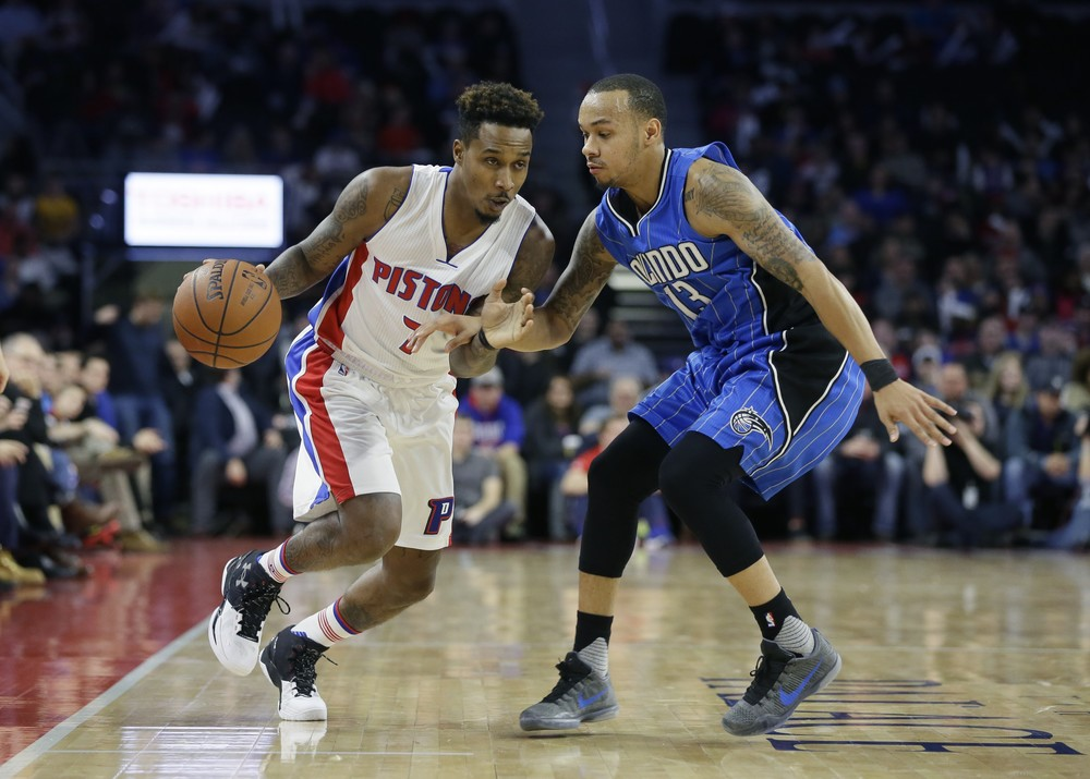 Detroit Pistons guard Brandon Jennings (7) drives against Orlando Magic guard Shabazz Napier (13) during the first half of an NBA basketball game, Monday, Jan. 4, 2016, in Auburn Hills, Mich. (Carlos Osorio/AP)