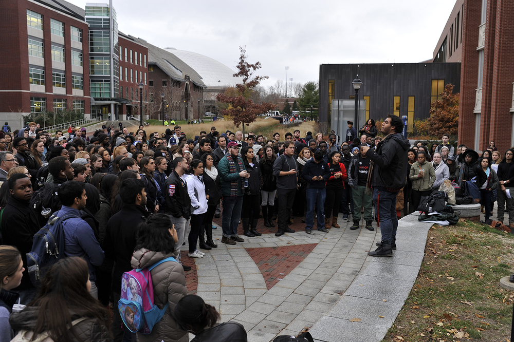 Nearly 300 UConn students gathered on Fairfield Way to show solidarity with movements against racism happening on other campuses across the country on Thursday, Nov. 19, 2015. (Jason Jiang/The Daily Campus)