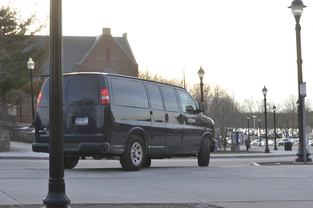 A shuttle van is seen on the UConn campus in Storrs, Connecticut on Tuesday, Jan. 19, 2016. The new service is available for travel between the UConn and the UConn Health Center in Farmington. (Rebecca Newman/The Daily Campus)