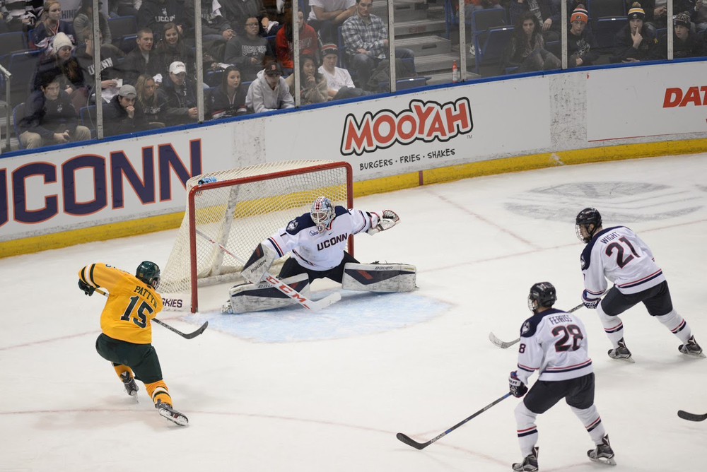 UConn goalie Tanner Creel makes a save during the Huskies 4-2 loss against Vermont at the XL Center on Jan. 22, 2016. Creel filled in for Rob Nichols. (Amar Batra/The Daily Campus)