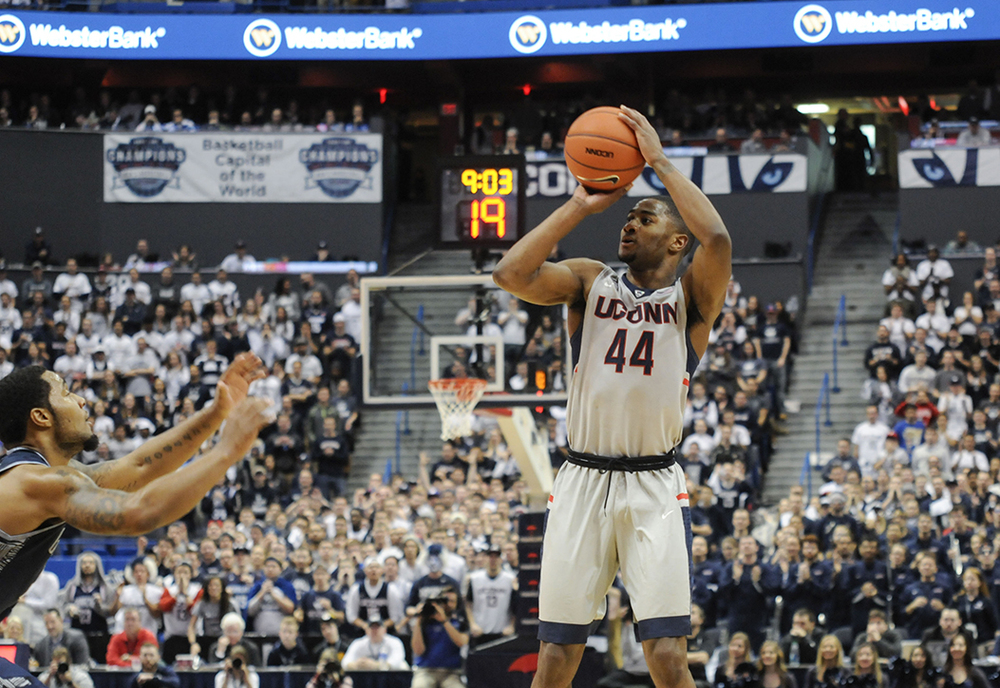 UConn guard Rodney Purvis takes a shot during the Huskies' game against Georgetown at the XL Center in Hartford, Connecticut on Saturday, Jan. 23, 2016. Purvis finished with a team-high 17 points in the 68-62 victory. (Bailey Wright/The Daily Campus)