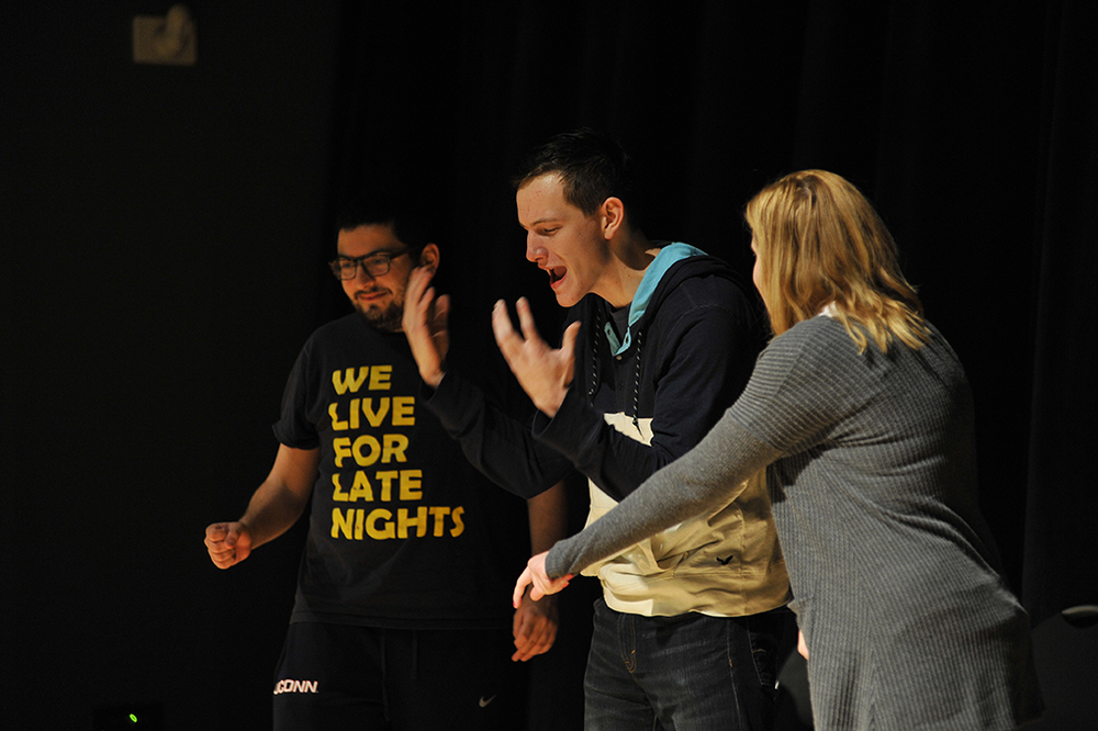 Students are seen performing during an improv comedy showcase in the UConn Student Union in Storrs, Connecticut on Friday, Jan. 22, 2016. (Jason Jiang/The Daily Campus)