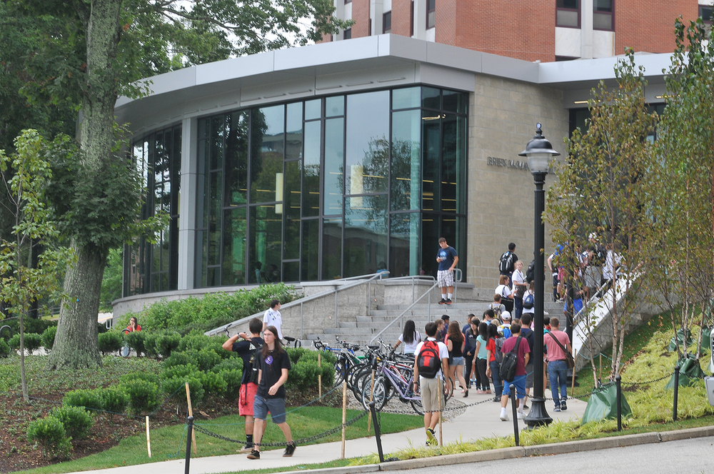 In this file photo, the exterior of McMahon Dining Hall is seen. Last December, the People for the Ethical Treatment of Animals (PETA) released their annual Vegan Report Card, awarding the University of Connecticut an 'A' rating for its vegan dining experience. (File Photo/The Daily Campus)