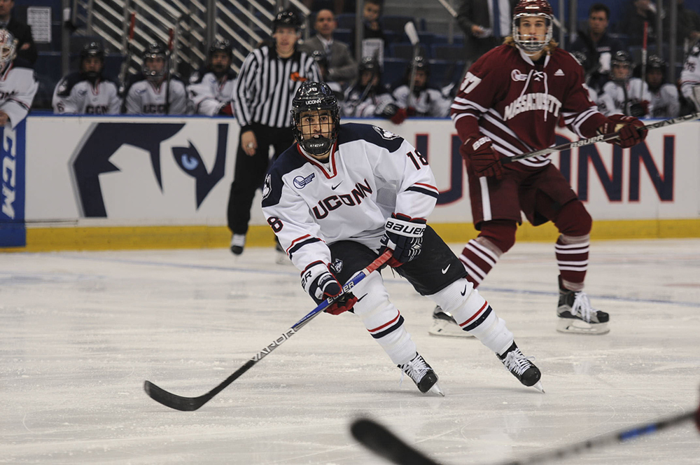 UConn freshman forward Max Kalter looks to receive the puck during the Huskies' game against UMass at the XL Center in Hartford, Connecticut on Friday, Nov. 6, 2015. UConn hosts in-state rival Sacred Heart tonight. (Bailey Wright/The Daily Campus)