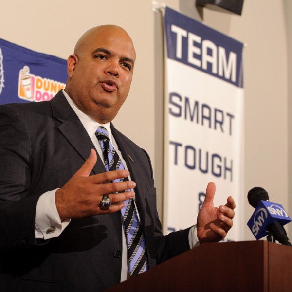 Warde Manuel speaks at a press conference to announce his appointment as athletic director held at the Burton Family Football Complex on the University of Connecticut main campus in Storrs on Feb. 13, 2012. It was reported today that Manuel will accept the athletic director position at his alma mater, the University of Michigan. (Peter Morenus/UConn Photo)