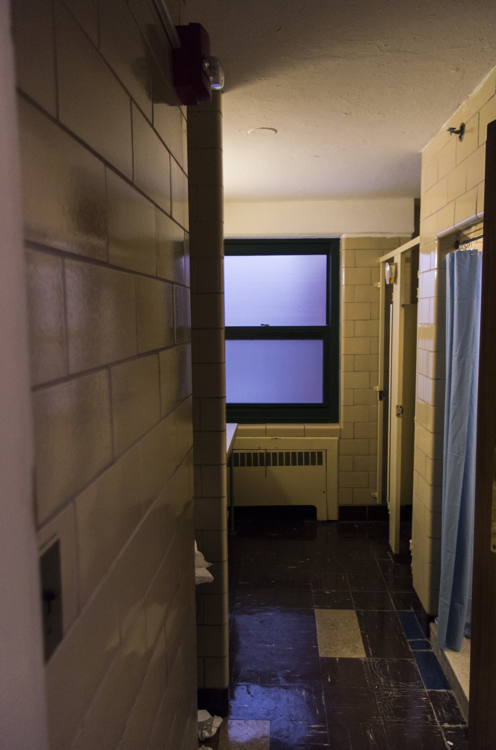 West Campus Residence Hall bathrooms on Jan. 23, 2016, prior to their expected renovations which will begin in May 2016. (William Chan/The Daily Campus)