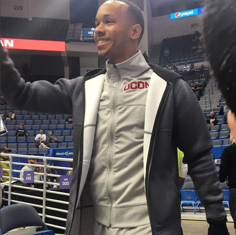 Shabazz Napier made an appearance to cheer on the Huskies at the XL Center on Jan. 28, 2016. Napier and Jalen Adams both call Roxbury, Massachusetts home. (Matt Zampini/The Daily Campus)