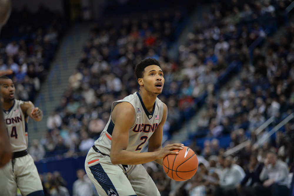 Guard Jalen Adams attempts a free throw during UConn's 58-57 loss to Cincinnati at the XL Center on Jan. 28, 2016. He finished with 11 points. (Ashley Maher/The Daily Campus)