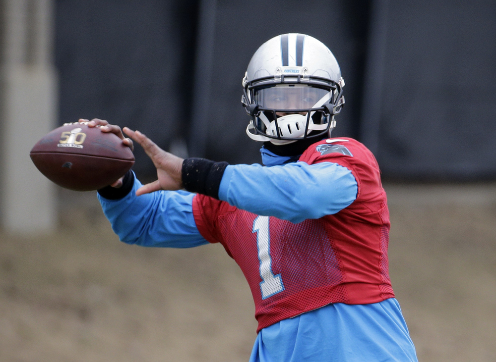 Carolina Panthers' Cam Newton throws a pass during practice for the NFL football team in Charlotte, N.C., Thursday, Jan. 28, 2016. (Chuck Burton/AP)