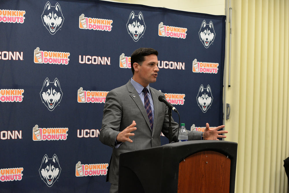UConn head coach Bob Diaco addresses the media at Pratt & Whitney Stadium at Rentschler Field on National Signing Day. (Amar Batra/The Daily Campus)
