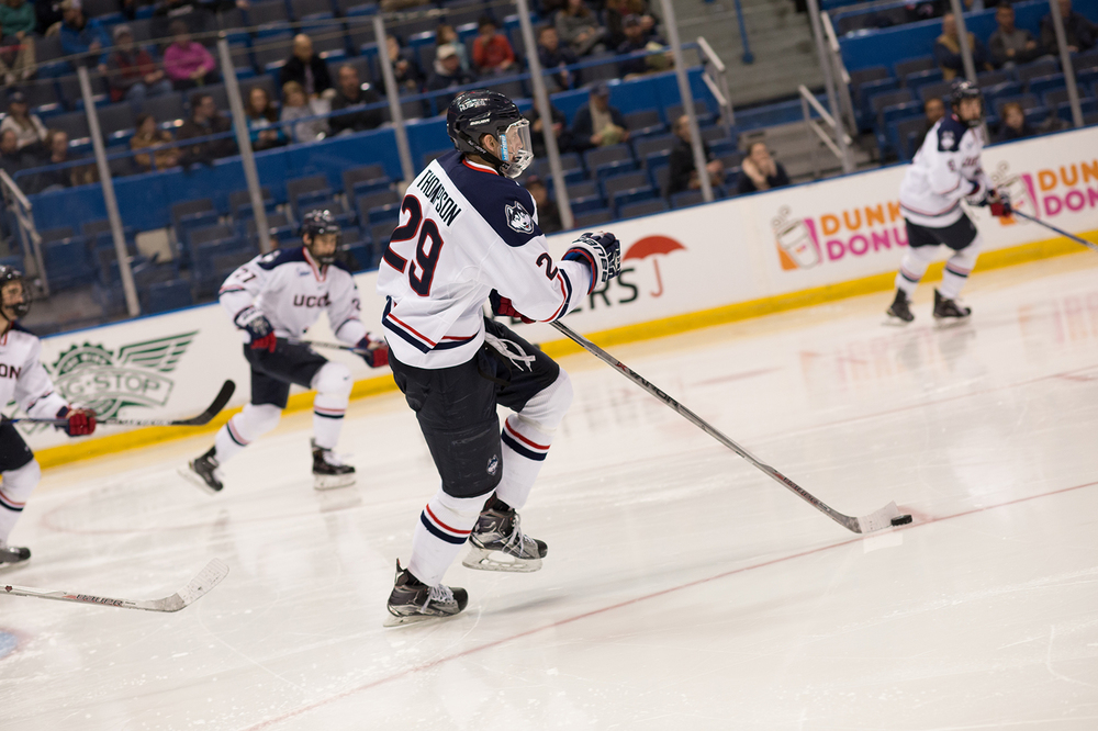 Freshmen forward Tage Thompson skates up the ice during UConn's 3-1 victory over Brown on Feb. 2, 2016. Thompson leads the nation with nine power play goals. (Jackson Haigis/The Daily Campus)