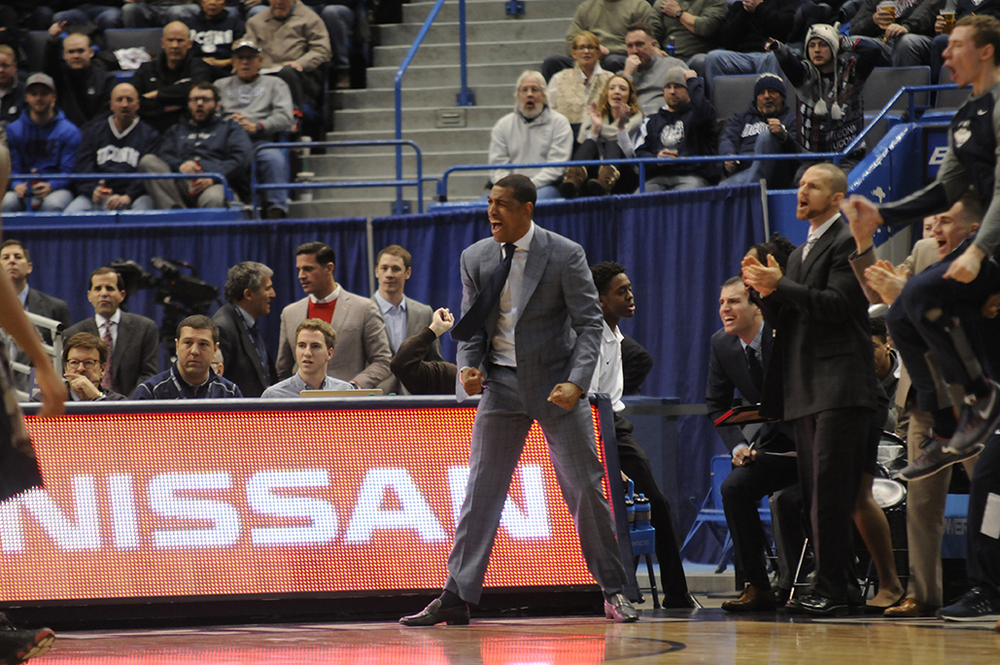 UConn head coach Kevin Ollie yells passionately during a victory over Georgetown at the XL Center on Jan. 23, 2016. Ollie has been a public supporter of the American Athletic Conference, but it was clear from the atmosphere against Georgetown that the fanbase years for a better home. (Ashley Maher/The Daily Campus)