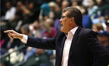 Connecticut head coach Geno Auriemma calls out from the bench in the second half of an NCAA college basketball game against Tulane in New Orleans, Wednesday, Feb. 3, 2016. Connecticut won 96-38. (AP Photo/Gerald Herbert)