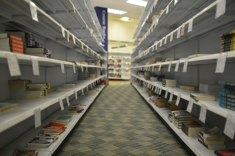 Bookshelves containing textbooks are seen on the second floor of the UConn Co-op in Storrs, Connecticut, on Thursday, Feb. 4, 2016. (Jason Jiang/The Daily Campus)