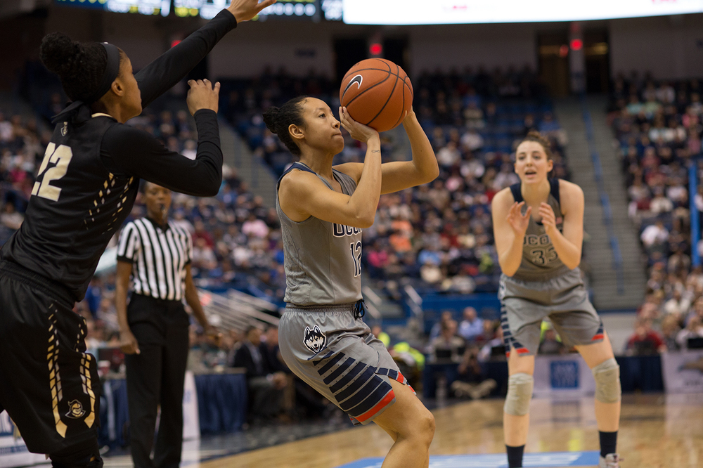 UConn women's basketball junior guard Saniya Chong takes a shot during the Huskies' game against Central Florida at the XL Center in Hartford, Connecticut on Wednesday, Jan. 20, 2016. (Jackson Haigis/The Daily Campus)