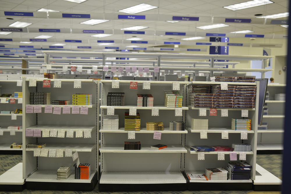 Bookshelves containing textbooks are seen on the second floor of the UConn Co-op in Storrs, Connecticut. (Jason Jiang/The Daily Campus)