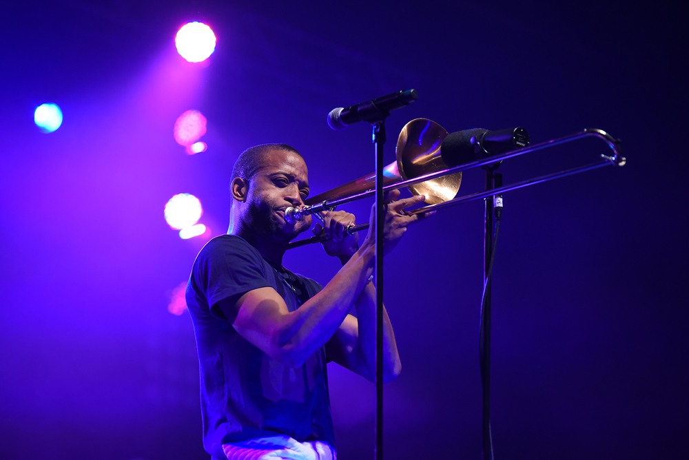 Troy Andrews, known as Trombone Shorty and leader of New Orleans funk jazz band Trombone Shorty & Orleans Avenue, is seen performing at the Jorgensen Center for the Performing Arts in Storrs, Connecticut on Thursday, Feb. 4, 2016. (Allen Lang/The Daily Campus)