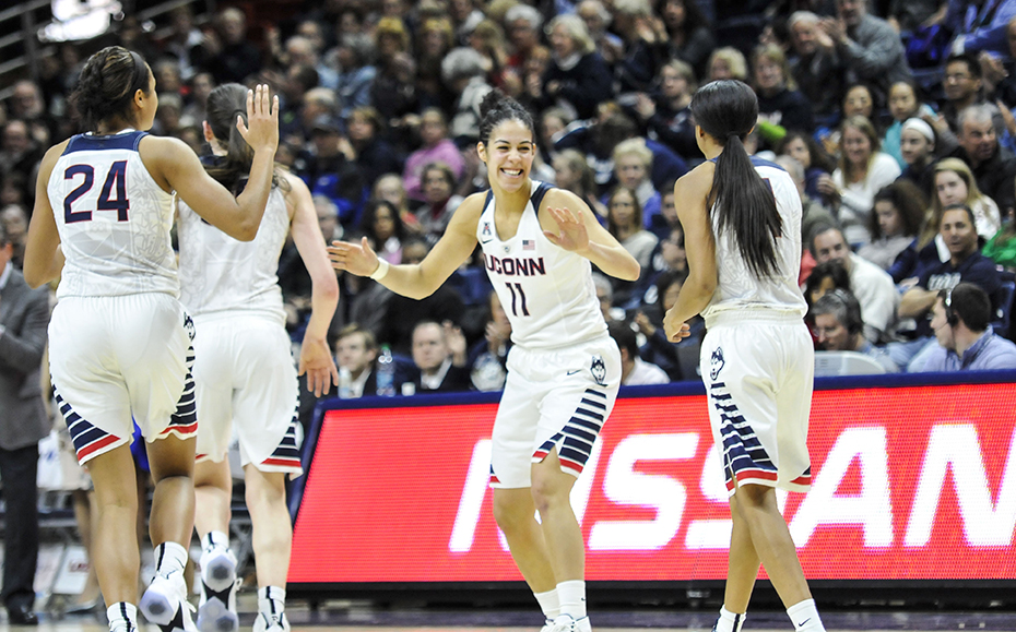 Kia Nurse (11) celebrate a milestone performance at Gampel Pavilion on Saturday. Nurse scored a career-high 20 points in UConn's 92-46 rout of ECU. (Bailey Wright/The Daily Campus)