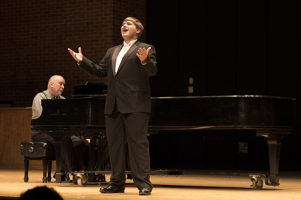 UConn student Tyler Panek performs during the Freshman and Sophomore Voice Honors Recital at the J. Louis von der Mehden Recital Hall in Storrs, Connecticut on Saturday, Feb. 6, 2016. (Jackson Mitchell/The Daily Campus)