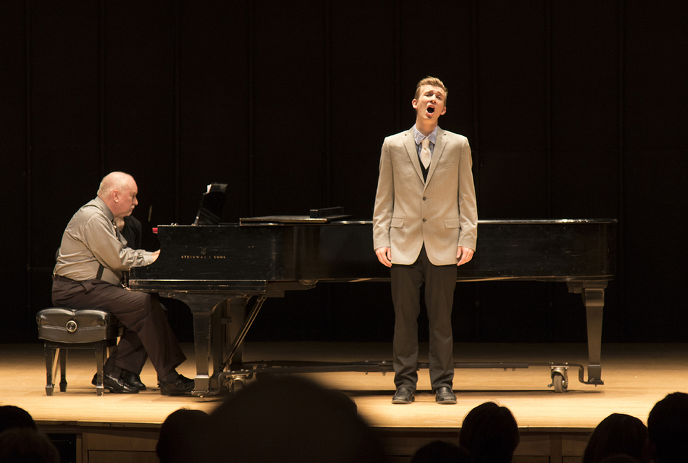 UConn student Ben Aubé performs during the Freshman Sophomore Voice Honors Recital at the J. Louis von der Mehden Recital Hall in Storrs, Connecticut on Saturday, Feb. 6, 2016. (Jackson Mitchell/The Daily Campus)