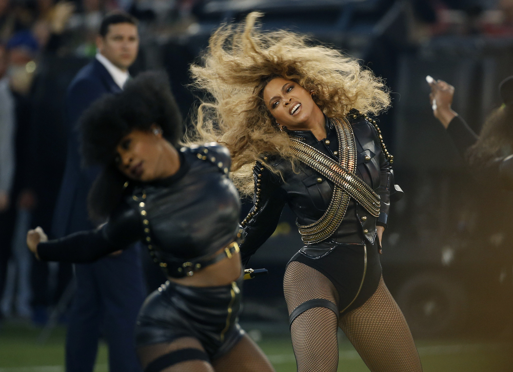 In this Sunday, Feb. 7, 2016 file photo, Beyonce performs during halftime of the NFL Super Bowl 50 football game in Santa Clara, Calif. (AP Photo/Matt Slocum, File)