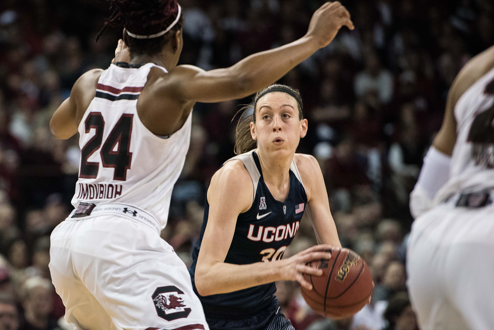 Connecticut forward Breanna Stewart (30) drives to the hoop against South Carolina forward Sarah Imovbioh (24) during the second half of an NCAA college basketball game Monday, Feb. 8, 2016, in Columbia, S.C. Connecticut defeated South Carolina 66-54. (AP Photo/Sean Rayford)