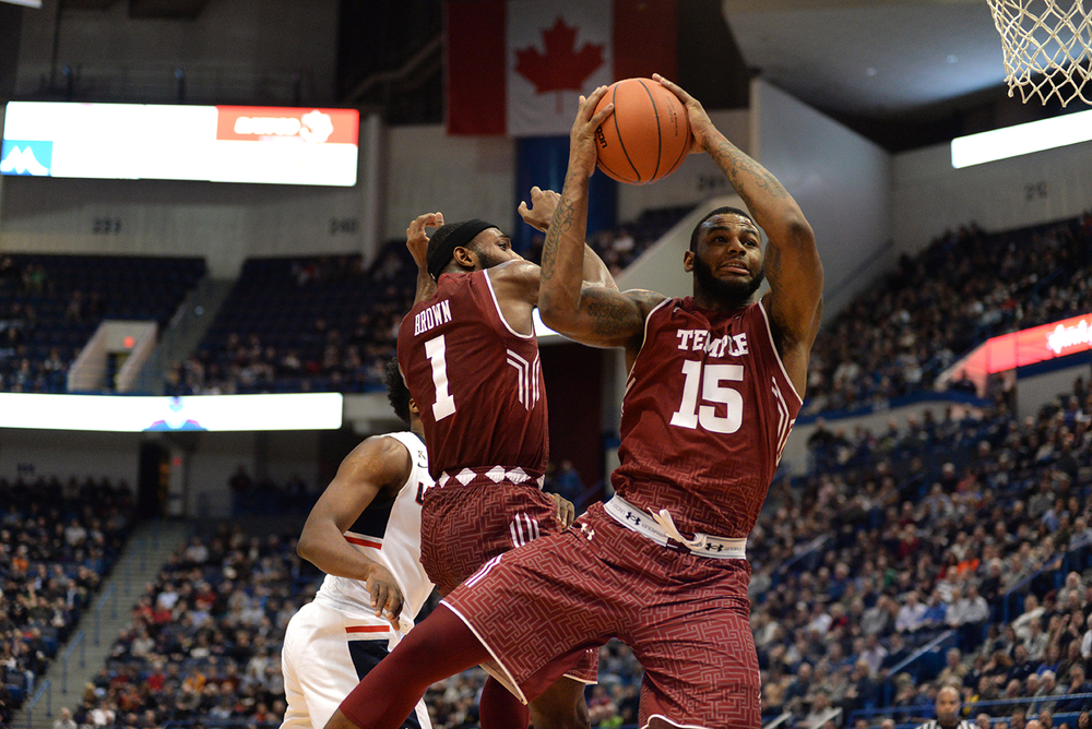 Temple forward Jaylen Bond rises for a rebound during the Owls' 55-53 over UConn at the XL Center on Ja. 5, 2016. (Ashley Maher/The Daily Campus)