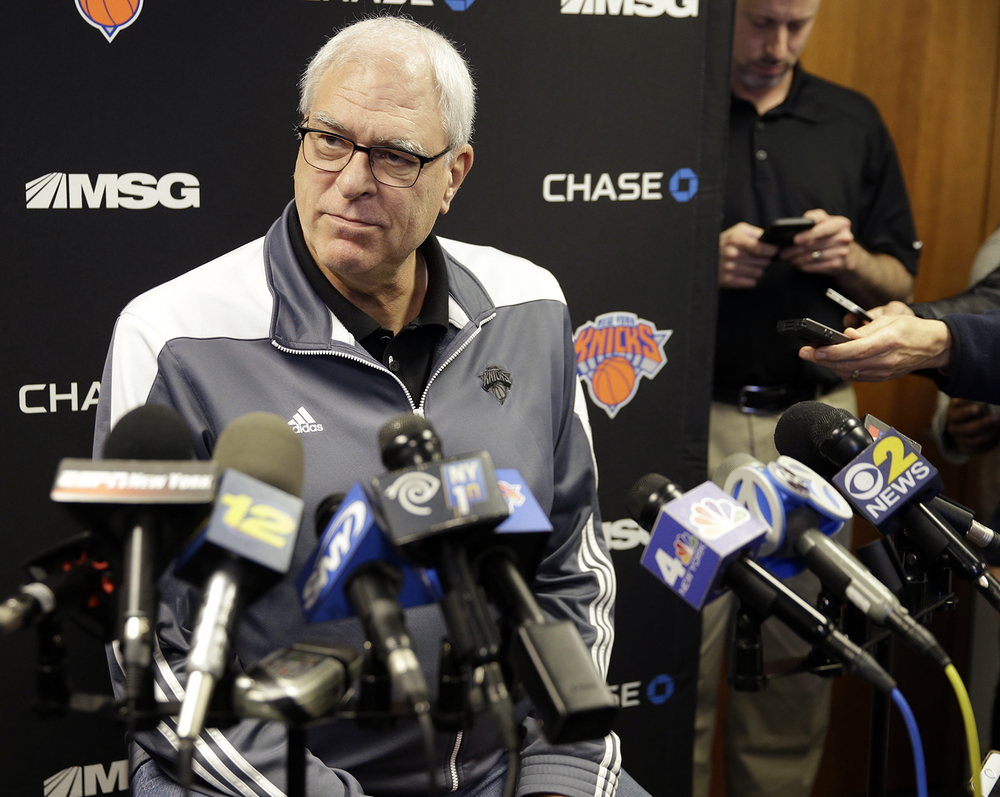 New York Knicks president Phil Jackson speaks to reporters during a news conference in Greenburgh, N.Y., Monday, Feb. 8, 2016. Derek Fisher was fired as New York Knicks coach Monday, with his team having lost five straight and nine of 10 to fall well back in the Eastern Conference playoff race. (AP Photo/Seth Wenig)
